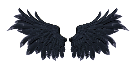 3d Illustration Demon Wings, Black Wing Plumage Isolated on White Background Banco de Imagens