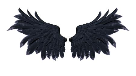 Dämon-Flügel der Illustration 3d, schwarzes Flügel-Gefieder lokalisiert auf weißem Hintergrund Standard-Bild - 91734332