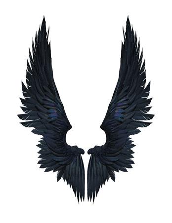 3Dイラスト悪魔の翼、白い背景ホイットクリッピングパスに隔離された黒い翼の羽毛。 写真素材