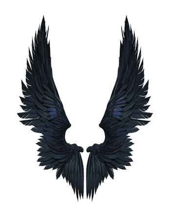 3D Illustratie Demon Wings, Black Wing Plumage geïsoleerd op witte achtergrond whit uitknippad. Stockfoto
