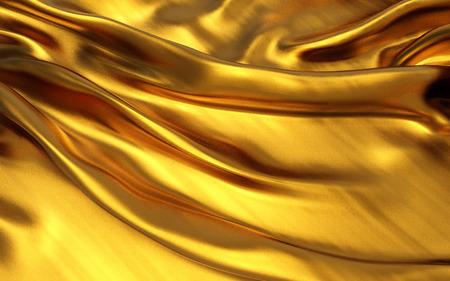 3d illustration Gold satin cloth Wavy folds of grunge silk texture satin velvet material or luxurious background or elegant wallpaper design