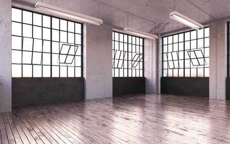 3d Illustration Empty Modern Room Hall Background, Modern Space Area, Wooden Parquet Floor, Loft Style.