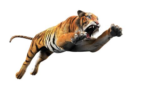Tigre de Bengala peligroso rugiendo y saltando aislado sobre fondo blanco, con trazado de recorte, ilustración 3d. Foto de archivo
