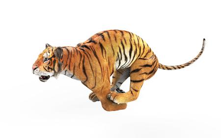 Tigre de Bengala peligroso rugiendo y saltando aislado sobre fondo blanco, con trazado de recorte, ilustración 3d.