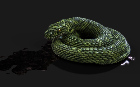 3d Illustration Green Giant Fantasy Snake on Black Background with Clipping Path