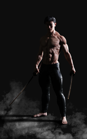 3d Illustration Human Portrait Of A Handsome Muscular Ancient Warrior With A Sword Included Clipping Path