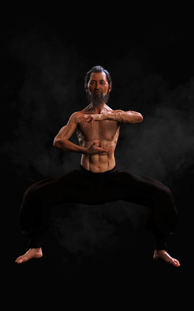 3d Illustration Human Martial Arts Sports Training with Clipping Path, Kung Fu Master, Muscle Man in Dark Background.