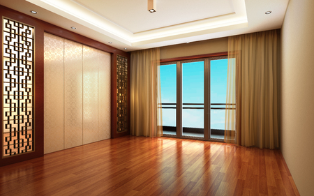 3d Illustration Beautiful Bright Warm Room, Decorated with Curtain and Parquet Floor Фото со стока