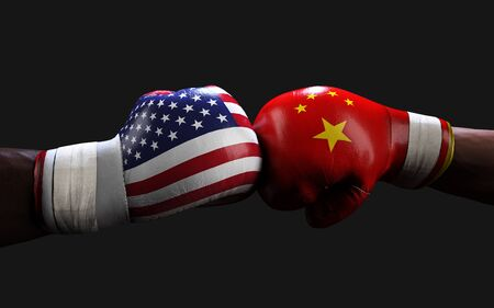 Concept of trade war between USA and China. 3d illustration two boxer fighting US and China flag trading punches for the concept: Trade War. Фото со стока