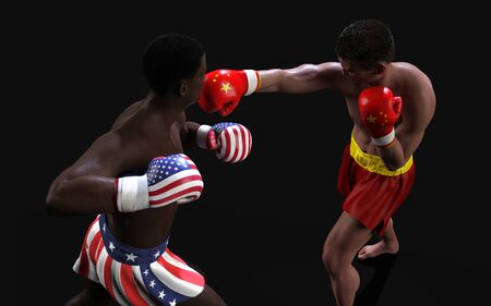 Concept of trade war between USA and China. 3d illustration two boxer fighting US and China flag trading punches for the concept: Trade War. Standard-Bild