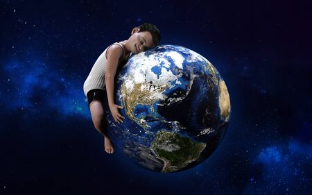 3d illustration of a boy hugging globe. Green world, environment, save the world concept, I love my planet.