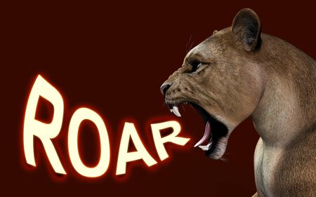 3d Illustration Close-up of a Lioness roaring