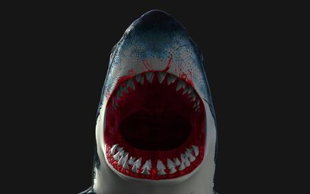 Worlds biggest great white shark isolate on black background, 3d Illustration, 3d Render Reklamní fotografie