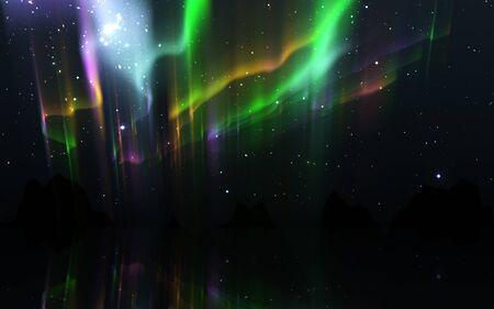 Auroras boreales. Paisaje de la naturaleza de la aurora boreal en la noche, cielo con luces polares y estrellas.