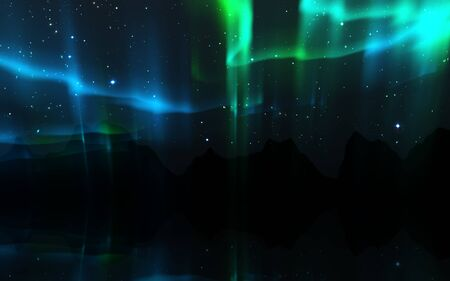 Northern lights. Aurora borealis nature landscape at night, Sky with polar lights and stars.
