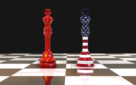 Concept of trade war between USA and China. 3d illustration two chess king on chess board US and China flag for the concept: Trade War.