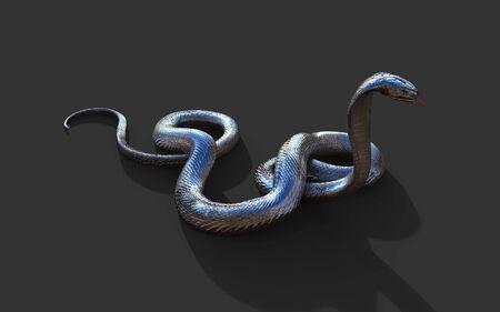 3d Illustration King Cobra The Worlds Longest Venomous Snake Isolated on Dark Background, King Cobra Snake, 3d Rendering