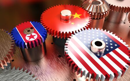 3d Illustration Cog America and China. China and USA flags on metal gears. Banco de Imagens
