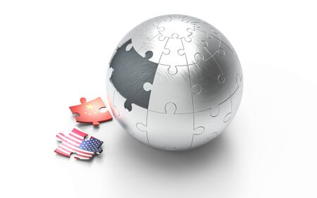 Symbolic concept about trade war between USA and China. 3d illustration USA and China flags on puzzle pieces. Political relationship.