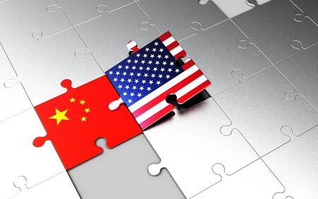 Symbolic concept about trade war between USA and China. 3d illustration USA and China flags on puzzle pieces. Political relationship. Stok Fotoğraf - 131667478