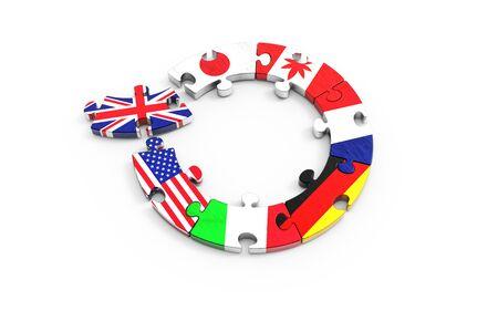 Symbolic concept about The UK to leave the European Union (EU). 3d illustration European Union on puzzle pieces. Political relationship. Banco de Imagens