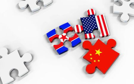 Symbolic concept about trade war between USA, Korea and China. 3d illustration USA, Korea and China flags on puzzle pieces. Political relationship. Stok Fotoğraf - 131667521