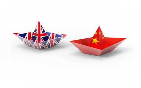 Symbolic concept about trade war between UK and China. 3d illustration Uk and China flags on Paper Boat. Political relationship, South China Sea dispute. Stok Fotoğraf - 131667523