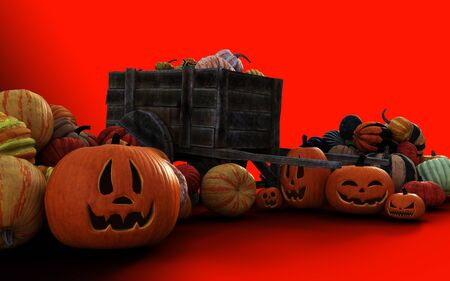 3d Illustration Scary Jack O Lantern Halloween Pumpkins on Farmers Market