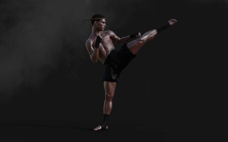 3d Illustration Human Martial Arts Sports Training, Kick Boxing, Muscle Man in Dark Background.