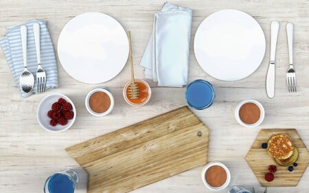 3d Illustration white wood table with food breakfast, chopping board, wooden tray, beverage, fruits, pancake and honey. Top view or view from above.