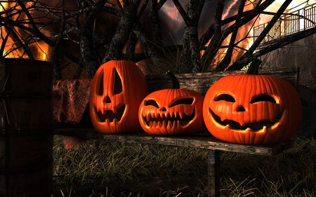 3d Illustration Scary Jack O Lantern Halloween Pumpkins and Black cat.