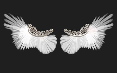 3d Illustration Angel wings, white wing plumage isolated on black background Banque d'images - 131668342