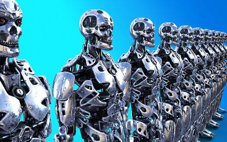 3d Illustration or Models of many Robotic Cyborg Servants Stok Fotoğraf