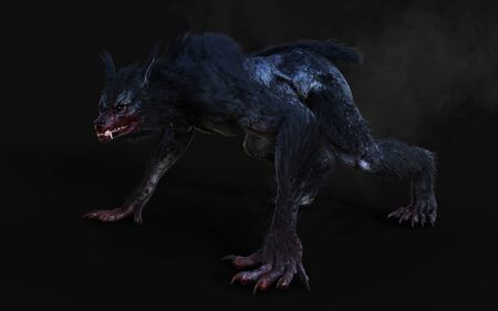 3d Illustration of a werewolf on dark background Stok Fotoğraf