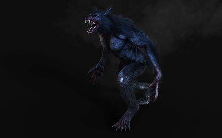 3d Illustration of a werewolf on dark background Stock Photo