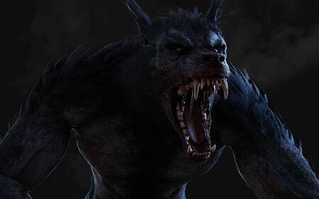 3D-Darstellung eines Werwolfs auf dunklem Hintergrund Standard-Bild