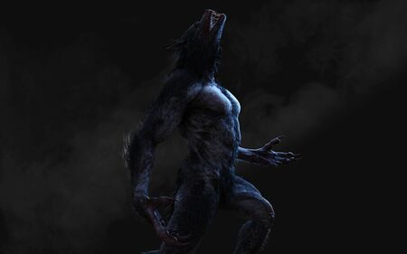 3d Illustration of a werewolf on dark background Stock fotó