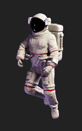 3d Illustration Astronaut pose against isolated on black background