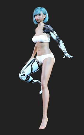 3d illustration or model of futuristic steel robotic girl posing on dark background. Robots action and pose. Robotic steel hand and leg.