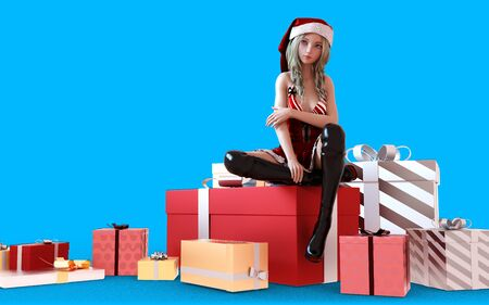 3d Illustration Young woman wearing santa hat isolated on blue background. Beautiful young santa woman. Stok Fotoğraf