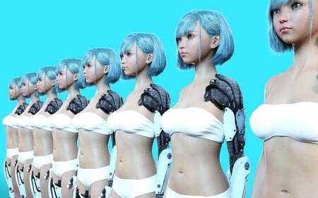 Ilustración 3D o modelos de muchos sirvientes Cyborg femeninos robóticos.