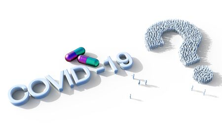 COVID-19 coronavirus concept. Pill capsules for treatment of COVID-19. Novel corona virus outbreak, epidemic spread in world. Coronavirus medicine on white background.