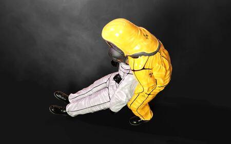3d Illustration man, in virus protective biohazard suit,  wearing mask to stop coronavirus or covid 19 outbreak on dark background