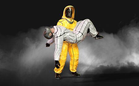 3d Illustration man, in virus protective biohazard suit,  wearing mask to stop coronavirus or covid 19 outbreak on dark background.