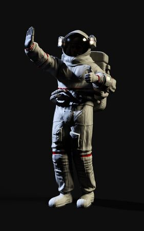 3d Illustration Astronaut pose against isolated on black background with clipping path.