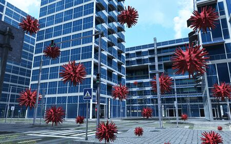 3d scene of red Covid-19 virus floating in the air in a city with buildings