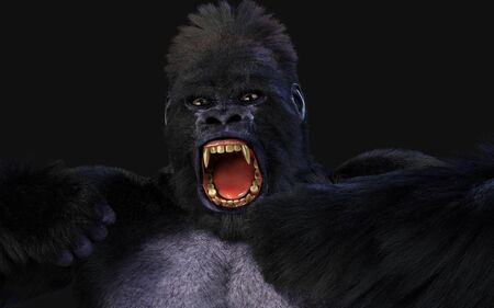 3d Illustration  a silverback gorilla on dark background   . Standard-Bild