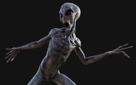 3d Illustration  a gray alien on dark background   .