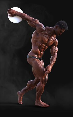 3d Illustration bodybuilder man posing. Beautiful sporty male power guy. Fitness muscle man with clipping path. Sport concept.