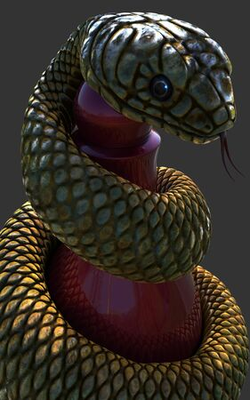 King Cobra snake wrapping around a red chess piece on dark grey background with clipping path, Close up shot, 3D rendering model Standard-Bild
